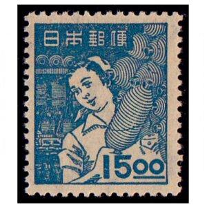 産業図案切手15円(紡績女工)